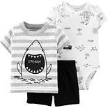 """Baby Boy Carter's Shark Tee, """"Ahoy!"""" Bodysuit & Shorts Set"""
