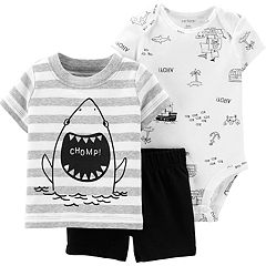 207f64257 Baby Boy Carter's Shark Tee, 'Ahoy!' Bodysuit & Shorts Set. sale