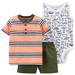 Baby Boy Carter's Striped Henley Tee, Printed Bodysuit & Shorts Set