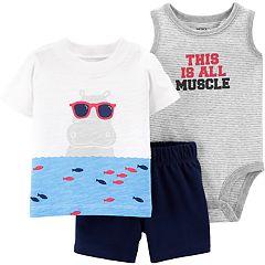 Baby Boy Carter's Striped Bodysuit, Hippo Tee & Shorts Set