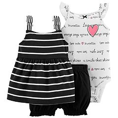5c59763e3 Baby Girl Carter's Word Print Bodysuit, Striped Tank Top & Bubble Shorts Set