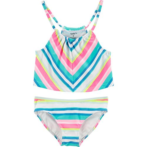 3dc7330a037e3 Girls 4-14 Carter's Rainbow Striped Tankini Top & Bottoms Swimsuit Set