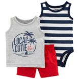 "Baby Boy Carter's Striped Bodysuit, ""Local Cutie"" Tank Top & Shark Shorts Set"