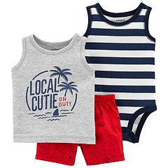 f65e2ef6d Baby Boy Carter's Striped Bodysuit, 'Local Cutie' Tank Top & Shark Shorts  Set