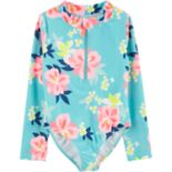 Girls 4-14 Carter's Floral One-Piece Rashguard Swimsuit