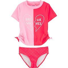 Girls 4-14 Carter's 'Break Waves' Rashguard Top & Bottoms Swimsuit Set