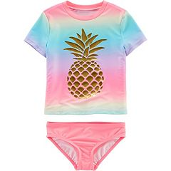 Girls 4-14 Carters Pineapple Ombre Rashguard & Bottoms Swimsuit Set