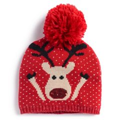 Red-Nosed Reindeer Knit Beanie