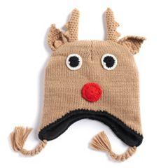 Reindeer Earflap Knit Beanie