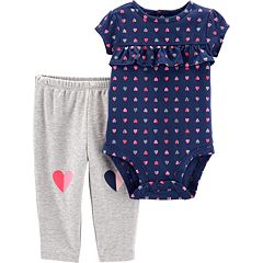 Baby Girl Carter's Glittery Heart Ruffled Bodysuit & Graphic Leggings Set