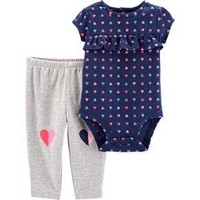 Baby Girl Carter's Glittery Heart Ruffled Bodysuit & Graphic Leggings Set