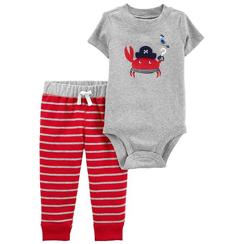 Le Top Baby Boys A Dog/'s Life Striped Bodysuit and Pant Set Three Dogs Applique
