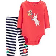 Baby Girl Carter's Embroidered Bunny Bodysuit & Striped Leggings Set