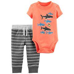 Baby Boy Carter's Shark Bodysuit & Striped Pants Set