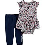 "Baby Girl Carter's Cheetah Peplum-Hem Bodysuit & ""Totally Purrfect"" Leggings Set"