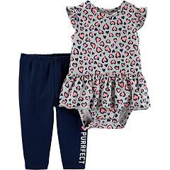 Baby Girl Carter's Cheetah Peplum-Hem Bodysuit & 'Totally Purrfect' Leggings Set