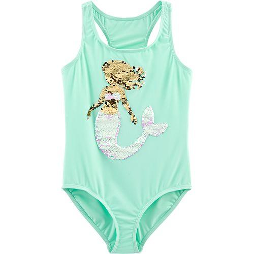 ecb6e22ce Girls 4-14 OshKosh B'gosh® Mermaid Flip Sequins One-Piece Swimsuit