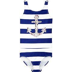 Girls 4-14 OshKosh B'gosh® Flip Sequin Anchor Striped Top & Bottoms Swimsuit Set