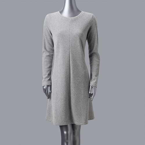 Petite Simply Vera Vera Wang Luxe Fit Flare Sweater Dress