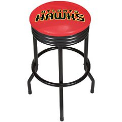 Atlanta Hawks Padded Ribbed Black Bar Stool