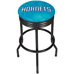 Charlotte Hornets Padded Ribbed Black Bar Stool