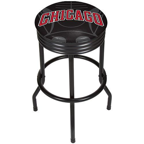 Chicago Bulls Padded Ribbed Black Bar Stool
