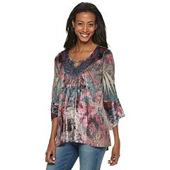 Women's World Unity Velvet Trim Printed Top