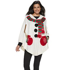 Women's Hooded Holiday Poncho
