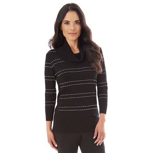 Women's Apt. 9® Lace Accent Cowlneck Sweater