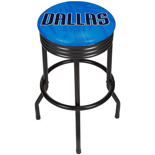 Dallas Mavericks Padded Ribbed Black Bar Stool