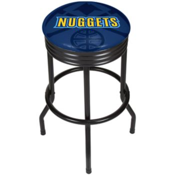 Denver Nuggets Padded Ribbed Black Bar Stool