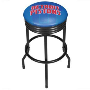 Detroit Pistons Padded Ribbed Black Bar Stool