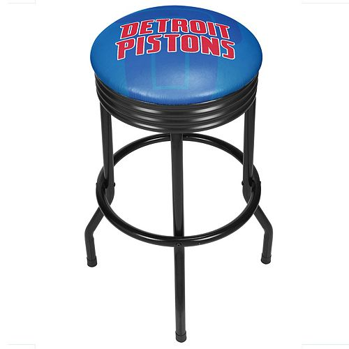 Detroit Pistons Padded Ribbed Black Bar Stool