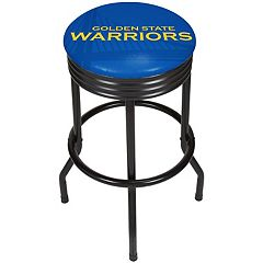 Golden State Warriors Padded Ribbed Black Bar Stool