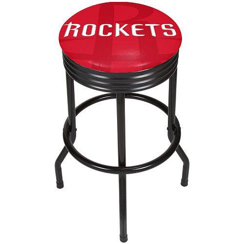 Houston Rockets Padded Ribbed Black Bar Stool
