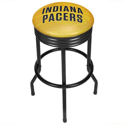 Indiana Pacers Padded Ribbed Black Bar Stool