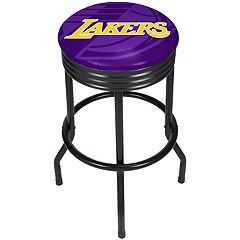 Los Angeles Lakers Padded Ribbed Black Bar Stool
