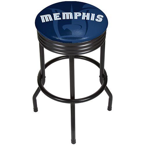 Memphis Grizzlies Padded Ribbed Black Bar Stool