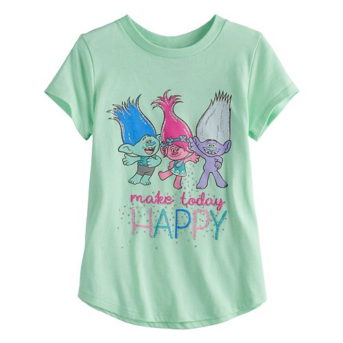 "Girls 4-10 Jumping Beans® DreamWorks Trolls ""Make Today Happy""  Tee"