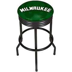 Milwaukee Bucks Padded Ribbed Black Bar Stool