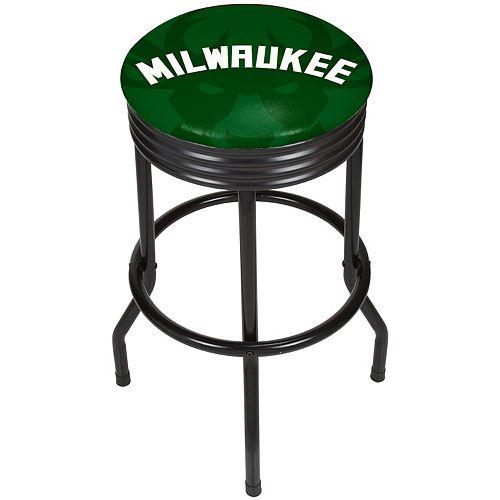 Milwaukee Bucks Padded Ribbed Black Bar Stool