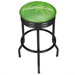Minnesota Timberwolves Padded Ribbed Black Bar Stool