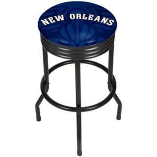 New Orleans Pelicans Padded Ribbed Black Bar Stool