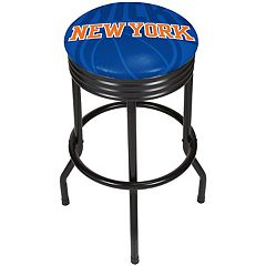 New York Knicks Padded Ribbed Black Bar Stool