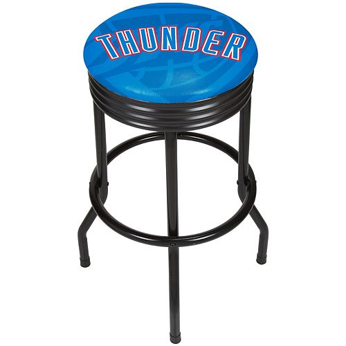 Oklahoma City Thunder Padded Ribbed Black Bar Stool