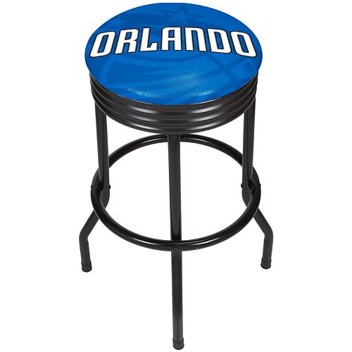 Orlando Magic Padded Ribbed Black Bar Stool