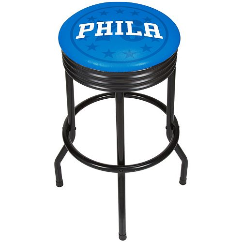 Philadelphia 76ers Padded Ribbed Black Bar Stool