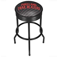 Portland Trail Blazers Padded Ribbed Black Bar Stool