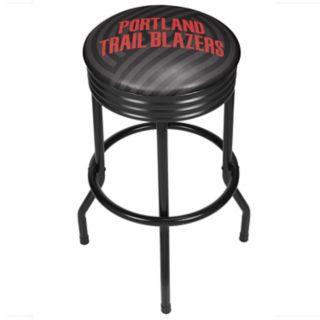 Portland Trail Blazers Padded Ribbed Black Bar Stool