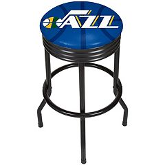 Utah Jazz Padded Ribbed Black Bar Stool